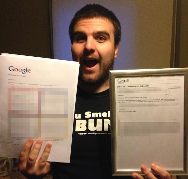 Google acceptance letter vs McDonald's rejection letter